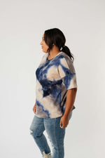 Waffle Knit Tie Dye Top In Midnight