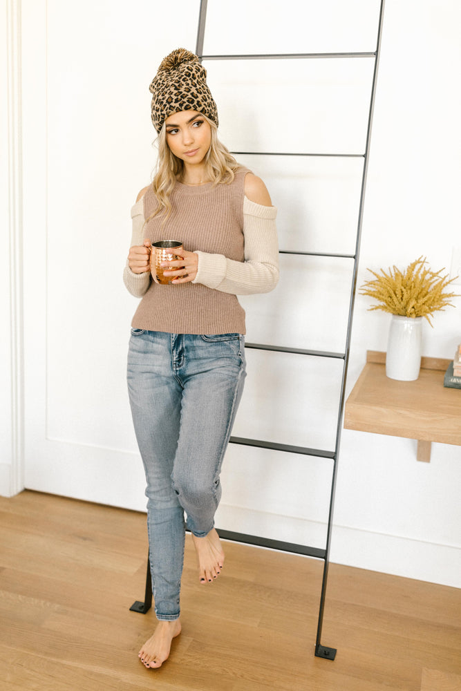 The Ellie Drop Shoulder Top in Taupe