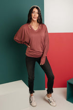 The Lillian Cut-Out Neckline Top in Rust