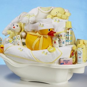 How to make your own baby gift baskets my baby canvas purchase a basket that matches your baby gift basket theme and a basket that is big enough to hold your baby gifts also it may not necessarily be a solutioingenieria Choice Image
