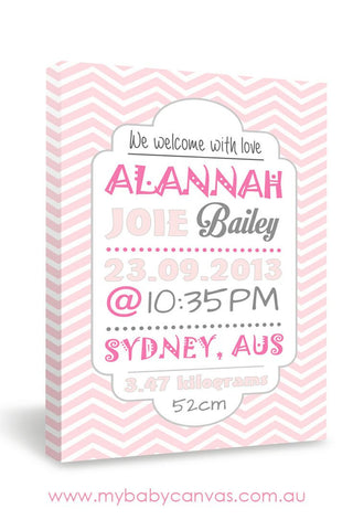 Custom Baby Canvas A Girly Chevron