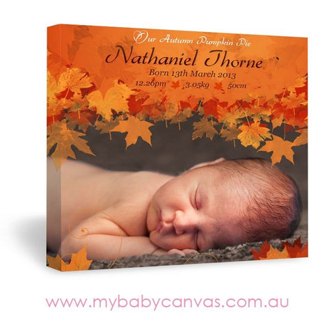 Custom Baby Canvas Autumn Pumpkin Pie