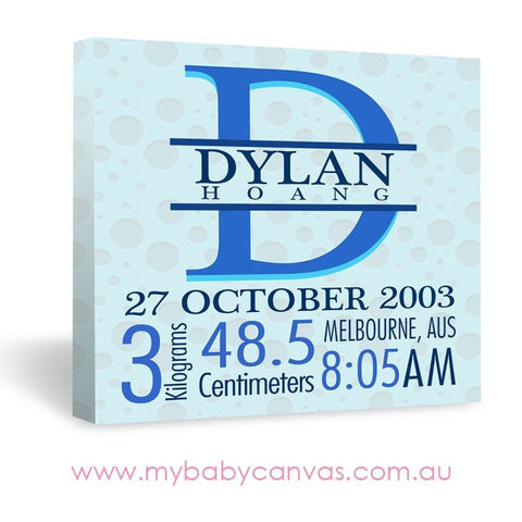 Custom Baby Canvas Baby Blue