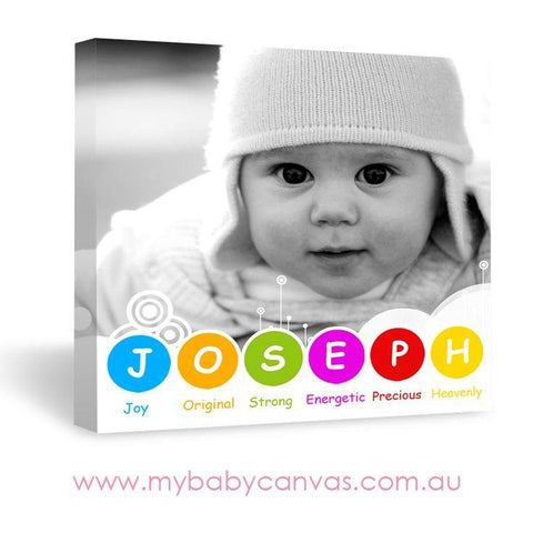 Custom Baby Canvas Colours of the Rainbow