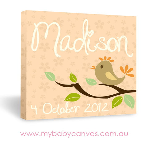 Custom Baby Canvas A Bird Announcement