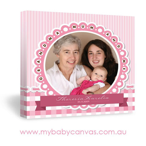 Custom Baby Canvas Three Generation of Girls