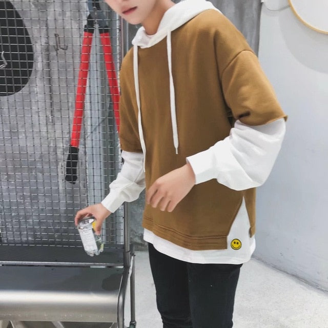 Men Harajuku Hoodies Long Sleeve Patchwork Loose Fashion Korean Style  Students Sweatshirts
