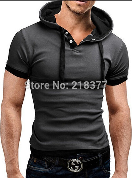 Short Sleeves Slim Fit Hip hop Hoody Men's T shirt, Shirts - Just Trendy