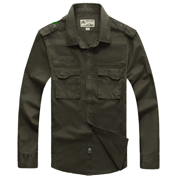Long Sleeve military style casual 100% cotton shirts - Just-Trendy.com - 2
