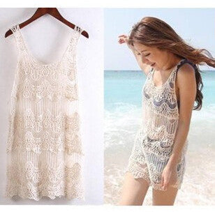 Hollow Out Knitted Crochet Bikini Cover Up, Swimwear - Just Trendy
