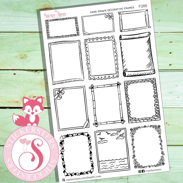 Decorative hand drawn cute frames and borders