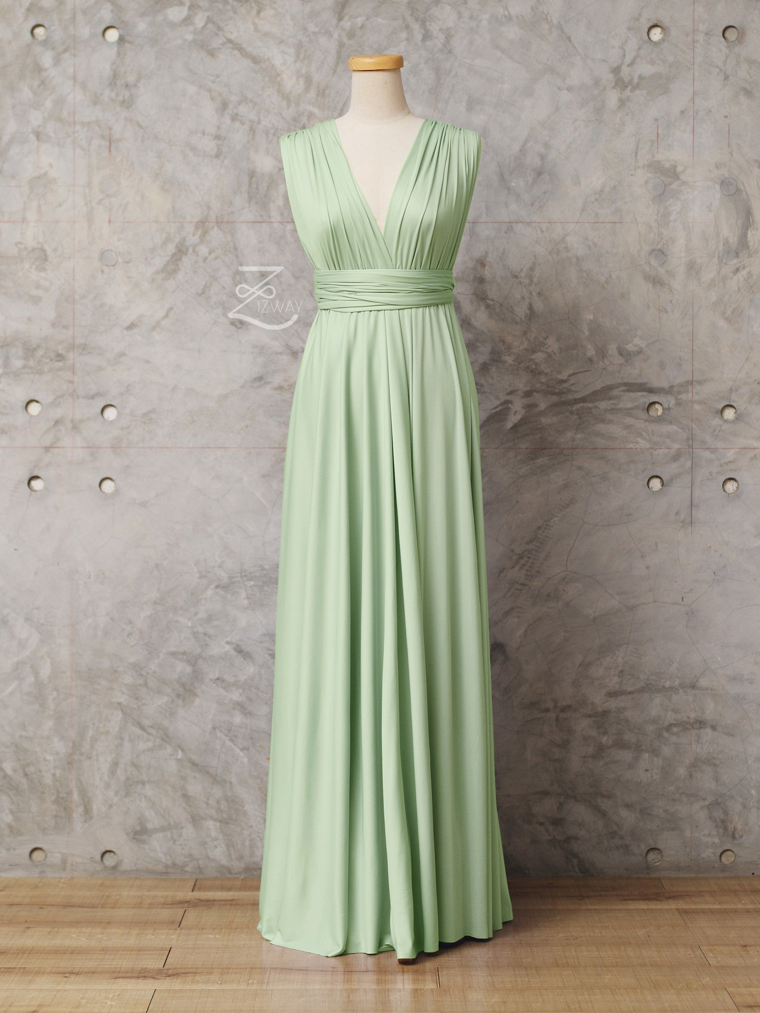 Zizway Pastel Green Convertible Dress Floor Length