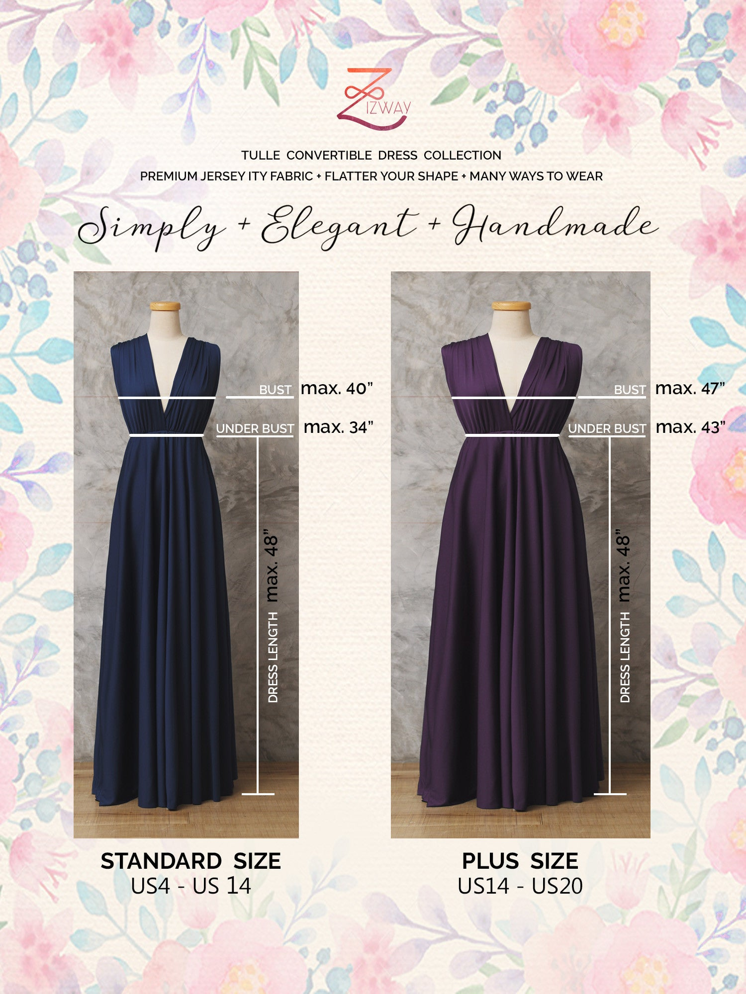 PERIWINKLE : Tulle Convertible Dress : Bridesmaid Dress - Zizway