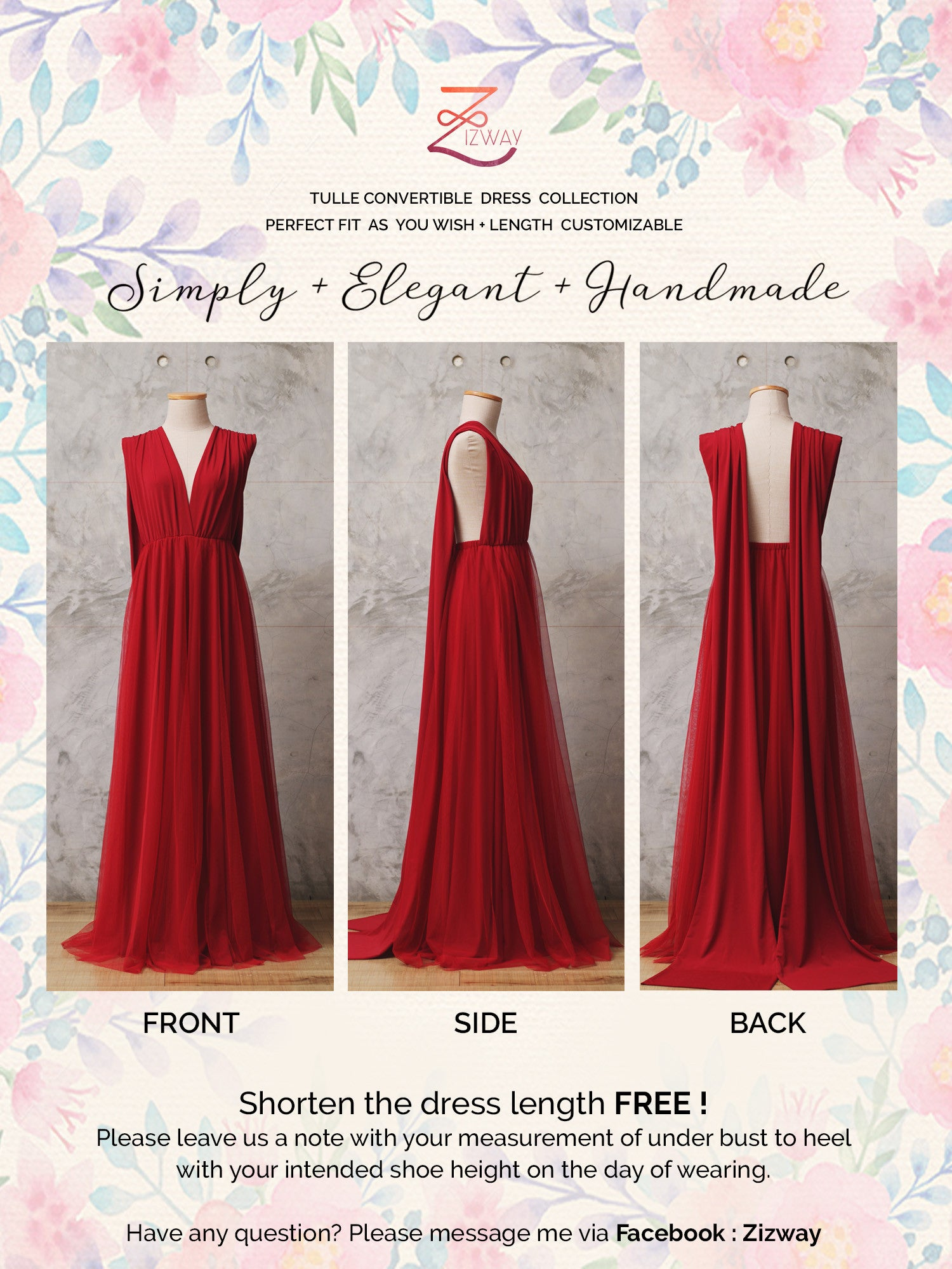 Wedding Convertible Dress cranberry tulle convertible dress bridesmaid zizway periwinkle floor length 301