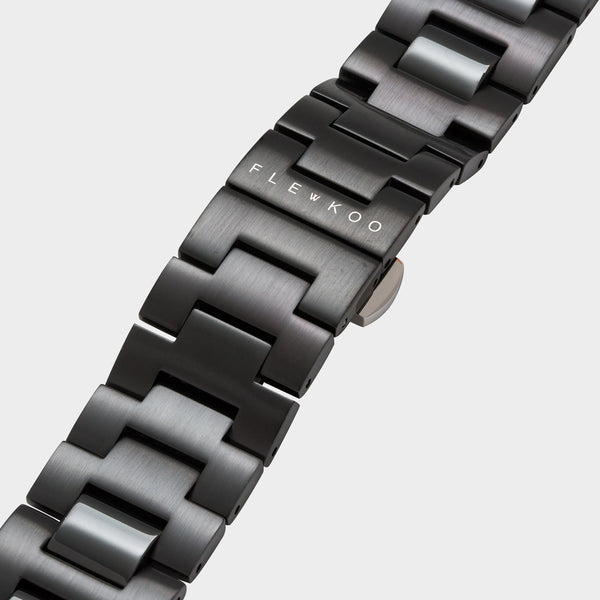 20mm - Matte Black Steel Band - Flewkoo