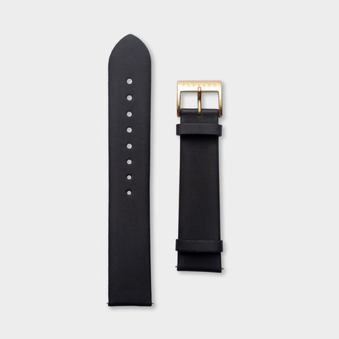 20mm - Gold & Black Leather - Flewkoo
