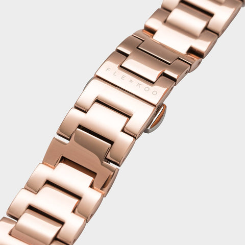 18mm - Rose Gold Steel Band - Flewkoo Flewkoo - Flewkoo