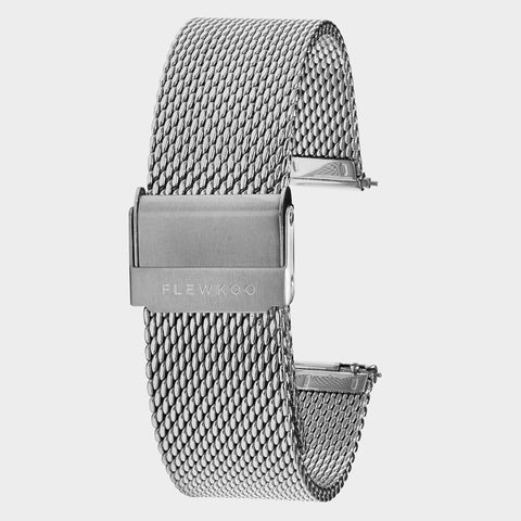 20mm - Silver Stainless Steel Mesh Strap