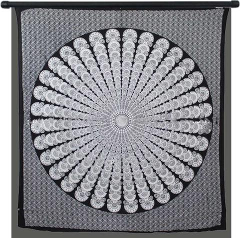 Peacock Black and White Tapestry
