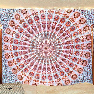 Bless International Orange Brown Indian Hippie Bohemian Psychedelic Peacock Mandala Wall Hanging Bedding Tapestry