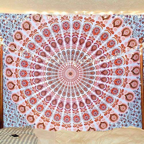 Orange Brown Peacock Mandala Tapestry