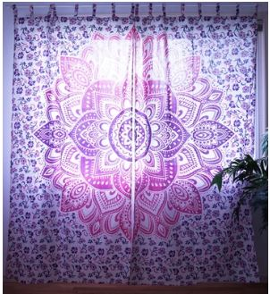 Summer Blossom Mandala Kitchen Window Curtains