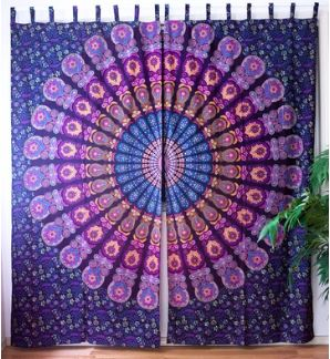 Wild Mandala Curtains Kitchen Window Curtains