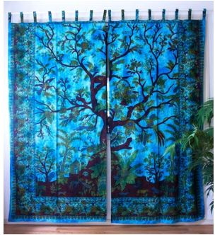 Turquoise Tree of Life Summer Forest Curtains