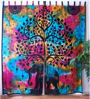 Tie Dye Elephant Festival Curtains