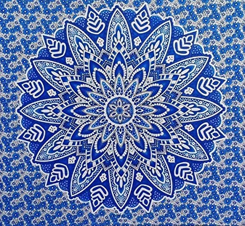 Bless International Indian Hippie Bohemian Psychedelic Mandala Tapestry (Queen (84x90Inches)) (Blue Spring Flower Mandala)