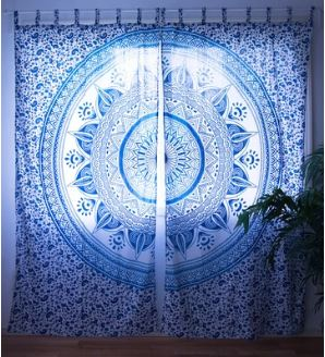 Aqua Summer Mandala Curtain