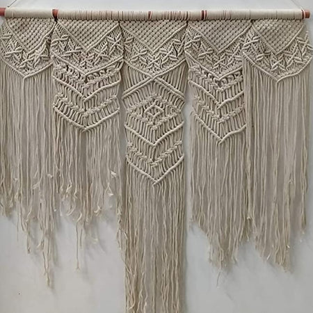"Bless International Macrame Art Size 36"" X 40"" inch- Woven Bohemian Boho Chic Beige Wall Decoration (White Colour) for Nursery, House, Dorm Room, Apartment,Office, Party, Wedding Decoration"