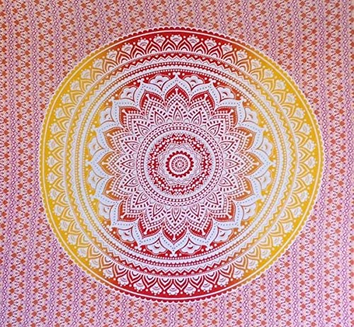 Bless International Indian Hippie Bohemian Psychedelic Tapestry (Queen (84x90Inches)) (Orange Red Ombre Mandala Tapestry)