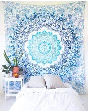 Bless International Indian Hippie Bohemian Psychedelic Mandala Tapestry (Queen (84x90Inches)) (Indigo Watercolor Mandala)