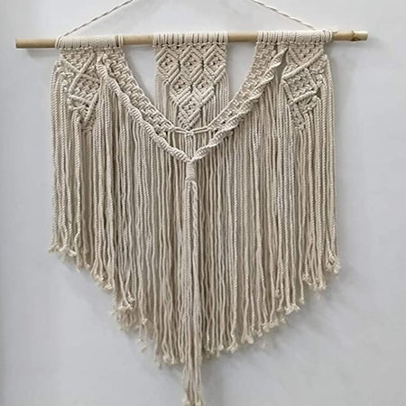 "Bless International Macrame Art Size 24"" X 32""inch- Woven Bohemian Boho Chic Beige Wall Decoration (White Colors) for Nursery, House, Dorm Room, Apartment,Office, Party, Wedding Decoration"