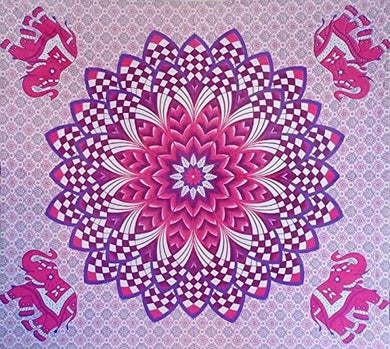 Bless International Indian Hippie Bohemian Psychedelic Mandala Tapestry (Queen (84x90Inches)) (Pink Flower Elephant Mandala)