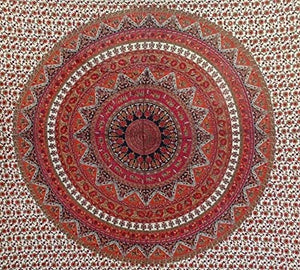 Bless International Indian Hippie Bohemian Psychedelic Mandala Tapestry (Queen (84x90Inches)) (Cream Maroon lahriya Mandala)