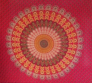 Bless International Indian Hippie Bohemian Psychedelic Mandala Tapestry (Queen (84x90Inches)) (Red Green Peacock Mandala)