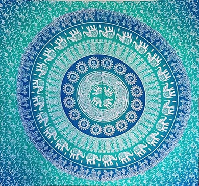 Bless International Indian Hippie Bohemian Psychedelic Mandala Tapestry (Queen (84x90Inches)) (Blue Green Elephant Mandala Tapestry)