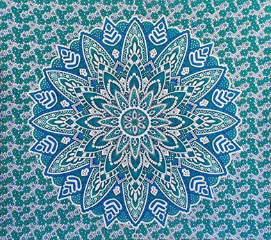 Bless International Indian Hippie Bohemian Psychedelic Mandala Tapestry (Queen (84x90Inches)) (Green Blue Flower Mandala)