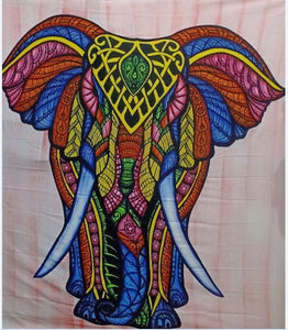 Multi Color Brush Painte Front Elephant Tapestry