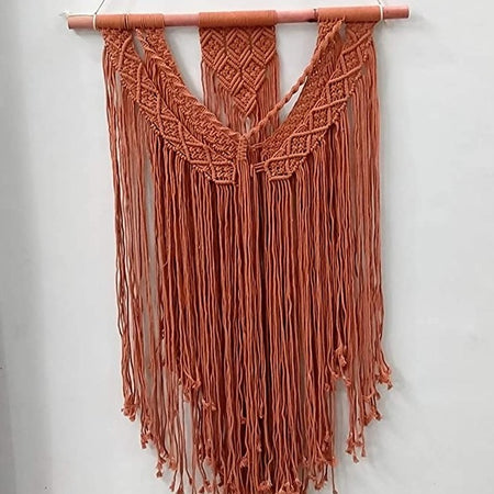 "Bless International Macrame Art Size 24"" X 36""inch- Woven Bohemian Boho Chic Beige Wall Decoration for Nursery, House, Dorm Room, Apartment,Office, Party, Wedding Decoration (Red-Orange)"