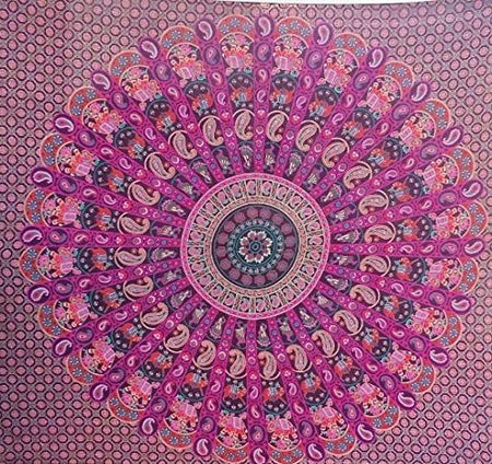 Bless International Indian Hippie Bohemian Psychedelic Mandala Tapestry (Queen (84x90Inches)) (Paris Mandala)