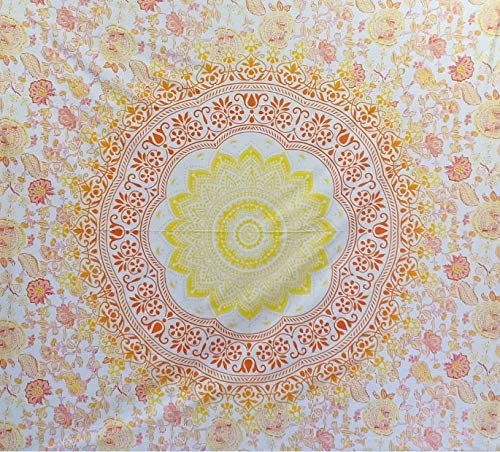 Bless International Indian Hippie Bohemian Psychedelic Mandala Tapestry (Queen (84x90Inches)) (Orange Yellow Flower Mandala)