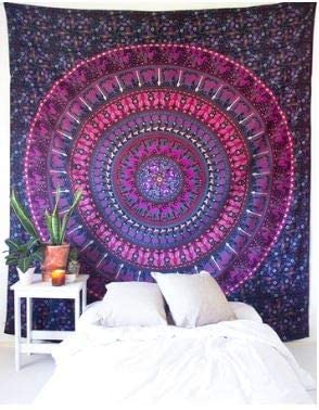 Bless International Indian Hippie Bohemian Psychedelic Mandala Tapestry (Queen (84x90Inches)) (Magenta Kaleidoscope Mandala)