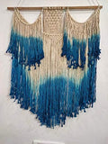 "White Sky Blue Color Macrame Art Size 24"" X 32""inch"