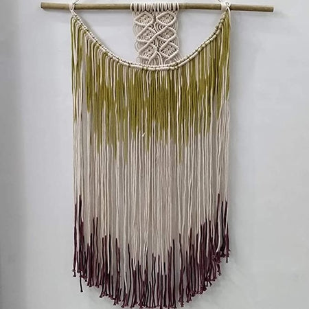"Bless International Macrame Art Size 24"" X 32"" inch- Woven Bohemian Boho Chic Beige Wall Decoration (Multi Color) for Nursery, House, Dorm Room, Apartment,Office, Party, Wedding Decoration"