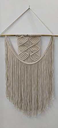 "Bless International Macrame Art Size 24"" X 32"" inch Woven Bohemian Boho Chic Beige Wall Decoration (White Color) for Nursery, House, Dorm Room, Apartment,Office, Party, Wedding Decoration"