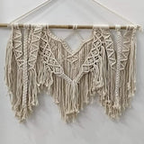 "White Color Macrame Art Size 24"" X 16""inch"