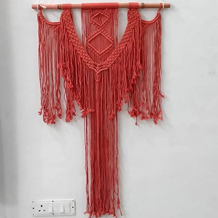 "Bless International Macrame Art Size 24"" X 32"" inch- Woven Bohemian Boho Chic Beige Wall Decoration (red Colour) for Nursery, House, Dorm Room, Apartment,Office, Party, Wedding Decoration"